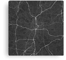 Atlanta, USA Map. (White on black) Canvas Print