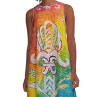 Leaves on the World Tree: Assyrian Tree of Life with Jasmine and Barley A-Line Dress