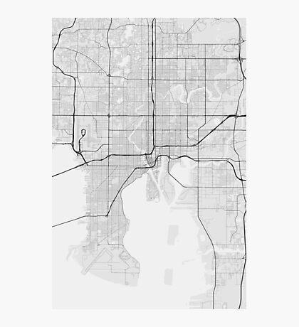 Tampa, USA Map. (Black on white) Photographic Print