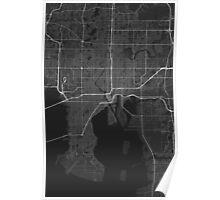 Tampa, USA Map. (White on black) Poster