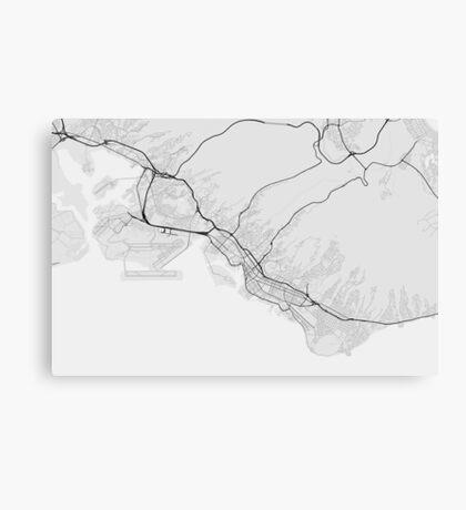 Honolulu, USA Map. (Black on white) Canvas Print