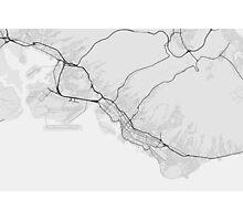 Honolulu, USA Map. (Black on white) Photographic Print