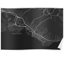 Honolulu, USA Map. (White on black) Poster