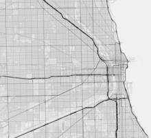 Chicago, USA Map. (Black on white) Sticker
