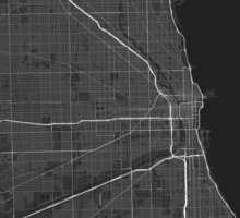 Chicago, USA Map. (White on black) Sticker