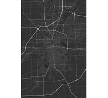 Fort Wayne, USA Map. (White on black) Photographic Print