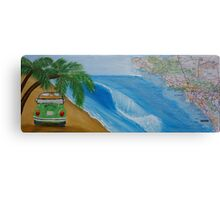 Travel Bug VW with beach and california map Canvas Print