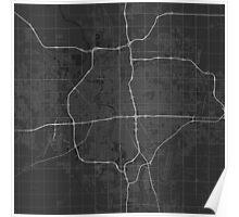 Wichita, USA Map. (White on black) Poster