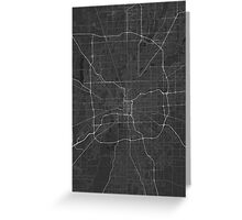 Indianapolis, USA Map. (White on black) Greeting Card