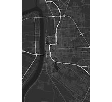 Baton Rouge, USA Map. (White on black) Photographic Print