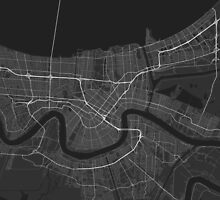 New Orleans, USA Map. (White on black) by Graphical-Maps