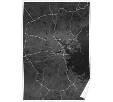 Boston, USA Map. (White on black) Poster