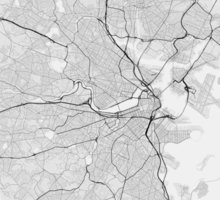 Boston, USA Map. (Black on white) Sticker