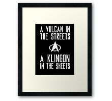 A vulcan in the streets a klingon in the sheets Framed Print