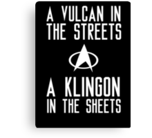 A vulcan in the streets a klingon in the sheets Canvas Print