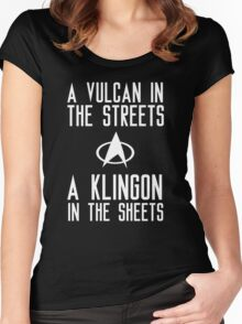 A vulcan in the streets a klingon in the sheets Women's Fitted Scoop T-Shirt