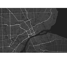 Detroit, USA Map. (White on black) Photographic Print