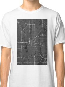 Minneapolis, USA Map. (White on black) Classic T-Shirt