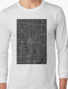 Minneapolis, USA Map. (White on black) Long Sleeve T-Shirt