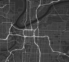 Kansas City, USA Map. (White on black) Sticker
