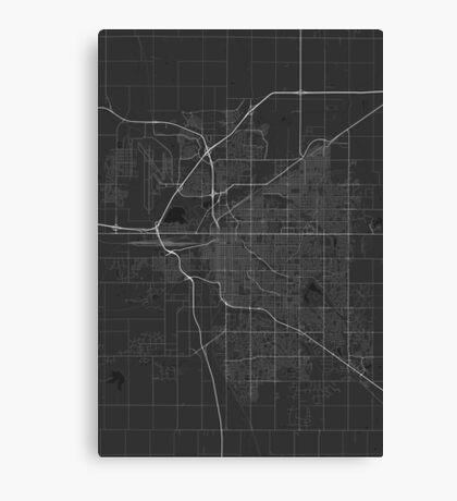 Lincoln, USA Map. (White on black) Canvas Print