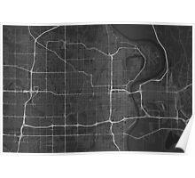 Omaha, USA Map. (White on black) Poster