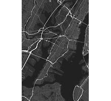 Jersey City, USA Map. (White on black) Photographic Print
