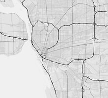 Buffalo, USA Map. (Black on white) by Graphical-Maps