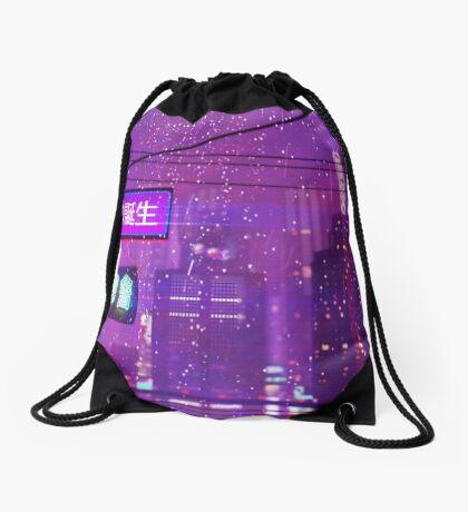purple vaporwave japanese city Drawstring Bag