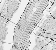 Manhattan, New York, USA Map. (Black on white) by Graphical-Maps