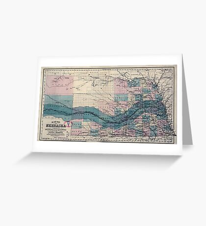 0405 Railroad Maps Map of Nebraska showing the Union Pacific Railroad land Greeting Card