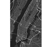 Manhattan, New York, USA Map. (White on black) Photographic Print
