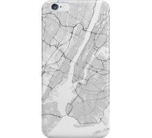 New York, USA Map. (Black on white) iPhone Case/Skin