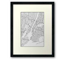 New York, USA Map. (Black on white) Framed Print