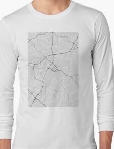 Charlotte, USA Map. (Black on white) Long Sleeve T-Shirt