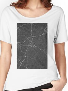 Charlotte, USA Map. (White on black) Women's Relaxed Fit T-Shirt