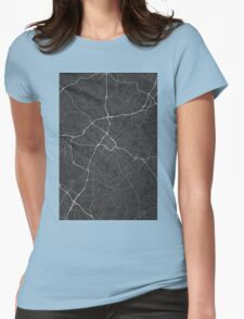 Charlotte, USA Map. (White on black) Womens Fitted T-Shirt
