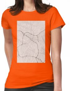 Durham, USA Map. (Black on white) Womens Fitted T-Shirt
