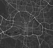Raleigh, USA Map. (White on black) by Graphical-Maps