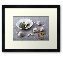 The old saucer, garlic and spices  Framed Print