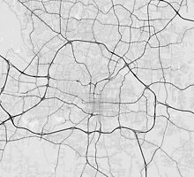 Raleigh, USA Map. (Black on white) by Graphical-Maps