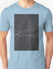 Winston–Salem, USA Map. (White on black) Unisex T-Shirt