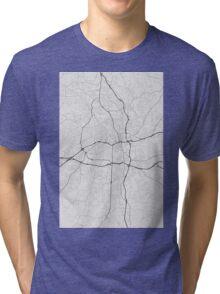 Winston–Salem, USA Map. (Black on white) Tri-blend T-Shirt