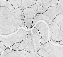 Cincinnati, USA Map. (Black on white) by Graphical-Maps