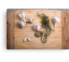 Top view of the garlic and dried spices for cooking food  Canvas Print