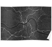 Cincinnati, USA Map. (White on black) Poster