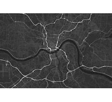 Cincinnati, USA Map. (White on black) Photographic Print