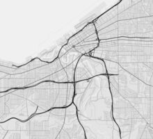 Cleveland, USA Map. (Black on white) Sticker