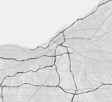 Cleveland, USA Map. (Black on white) by Graphical-Maps