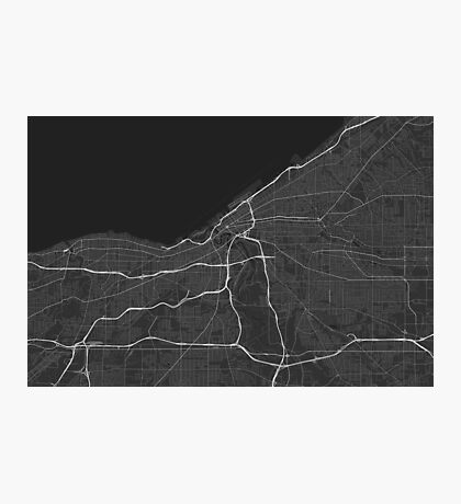 Cleveland, USA Map. (White on black) Photographic Print
